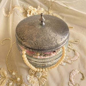 Vintage GLASS and SiLVER Jewelry box